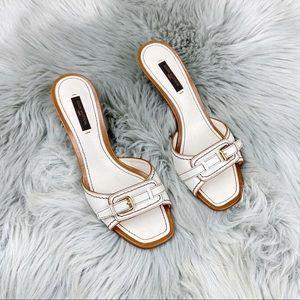 Louis Vuitton Cream Buckle Heeled Sandal